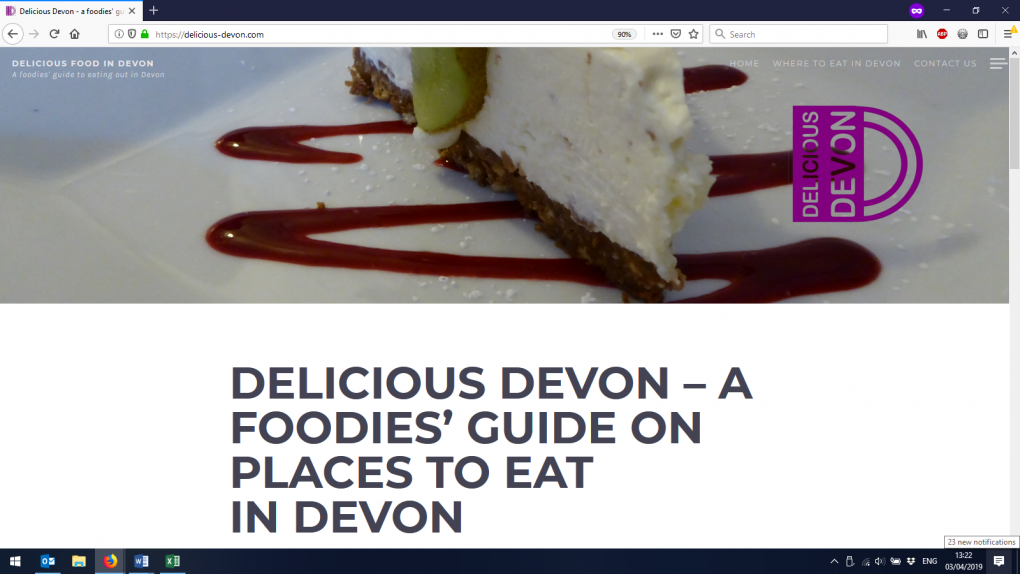 An example of a WordPress website to showcase good eateries in Devon